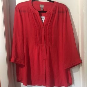 Chico's Sheer Red Tunic Top Sz 2/Lg. NWT!!